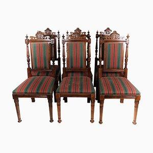 Eichenholz Esszimmerstühle, 1920er, 6er Set