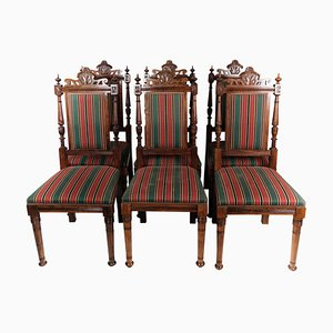 Oak Dining Room Chairs, 1920s, Set of 6