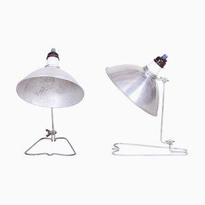 Lámparas de mesa Bauhaus checas de cromo, años 40. Juego de 2