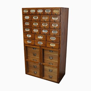 German Industrial Oak and Pine Apothecary Cabinet, Mid-20th Century