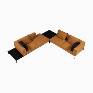 Jaan Living Mustard Yellow Corner Sofa with Tables by by EOOS for Walter Knoll / Wilhelm Knoll