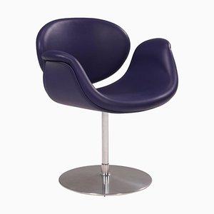 Little Tulip Purple Leather Swivel Chair by Pierre Paulin for Artifort, 1960s
