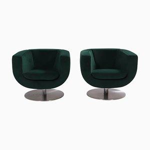 Green Velvet Tulip Armchairs by Jeffrey Bernett for B&B Italia, Set of 2