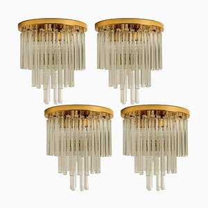 Palme Chandeliers or Flush Mount in Brass and Crystal, 1960s