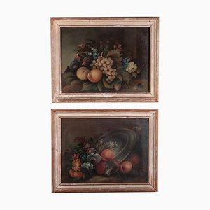 Stillleben mit Blumen und Früchten, 19. Jh., Öl auf Karton, 2er Set