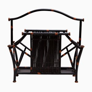 Mid-Century Magazine Rack in Iron and Faux Bamboo