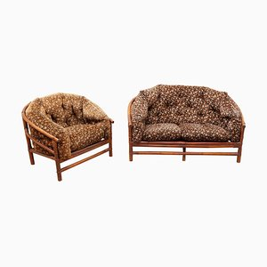 Vintage Bamboo Lounge Chair and Sofa, Set of 2