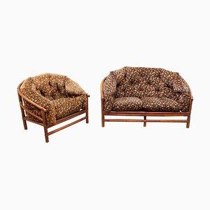 Vintage Bambus Sessel und Sofa, 2er Set