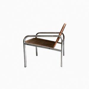 Vintage Lounge Armlehnstuhl aus Korbgeflecht & Metall, 1960er