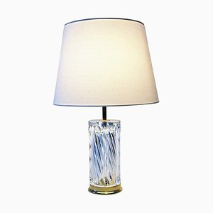 Swedish Crystal Glass and Brass Table Lamp by Olle Alberius for Orrefors, 1970s