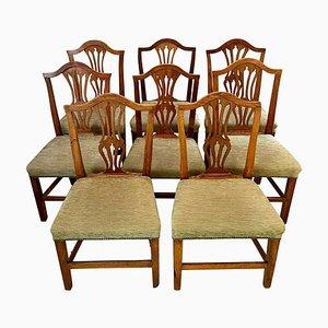 18th Century George III Hepplewhite Oak Dining Chairs, Set of 8