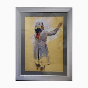 Evsey Reshin, Goodbye, Study of a Girl, Tempera Painting, 1969