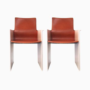 Leather and Pink Lacquer Armchairs by Tobia Scarpa, 1970s, Set of 2