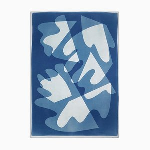 Walking on Glass, Monotype, Cutouts Mid-Century Shapes in Blue Tones, 2021