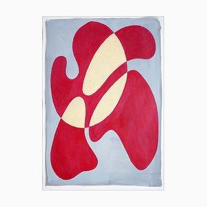 Roter Lippenstift Burst, Avantgarde überlappende Formen von Grau, Acryl auf Papier, 2021