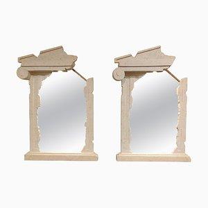 Vintage Brutalist Lit Mirrors, 1980s, Set of 2