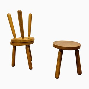Vintage Dreibein Hocker aus Holz, 1960er, 3er Set