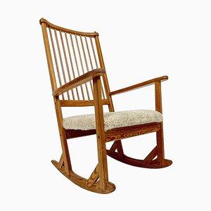 Rocking Chair Mid-Century en Pin et Peau de Mouton par Yngve Ekström, Suède