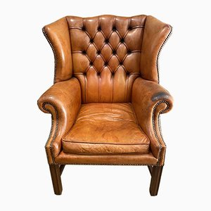 Antique Georgian Leather Library Fireside Armchairs, Set of 2