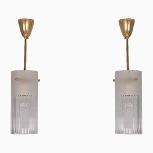Glass and Brass Suspensions, 1970s, Set of 2