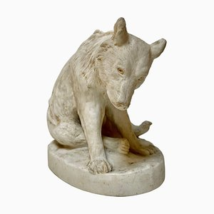 Sculpture Ours en Céramique Blanche par Stellmacher Teplitz, 19ème Siècle