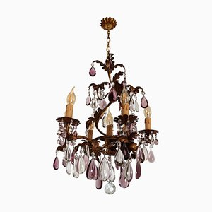 Italian Mid-Century Chandelier with Antique Purple Murano Crystal Glass Drops