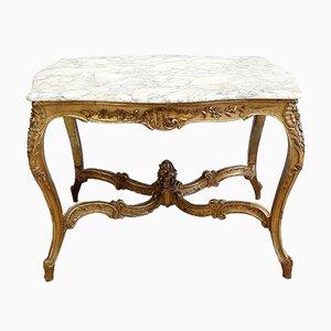 Regency Tisch aus Marmor & vergoldetem Holz, spätes 19. Jh