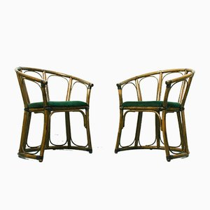 French Riviera Mid-Century Modern Bamboo Armchairs, 1960s, Set of 2