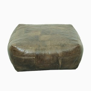 Pouf or Ottoman in Brown Patchwork Leather from De Sede, 1970s