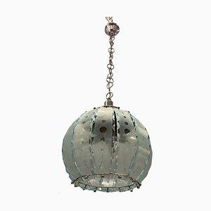 Italian Cut Glass Pendant Lamp, 1960s
