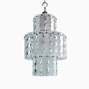 Chandelier with Metal Frame and Chiseled Glass by Zero Quattro for Fontana Arte, Italy, 1960s