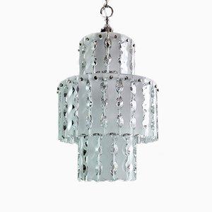 Kronleuchter mit Metallrahmen und gemeißeltem Glas von Zero Quattro für Fontana Arte, Italien, 1960er