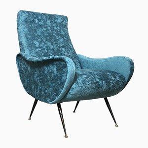 Italian Blue Lounge Chair, 1950s