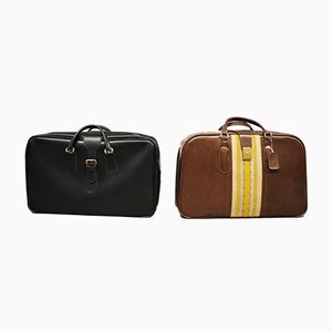 Leather Suitcases, 1950s, Set of 2