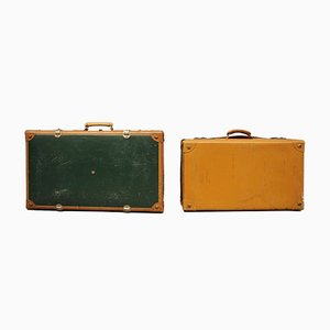 Milanese Leather Suitcases, Italy, 1950s, Set of 2
