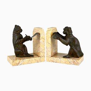 Sujetalibros Art Déco en forma de mono de Carlier, años 30. Juego de 2
