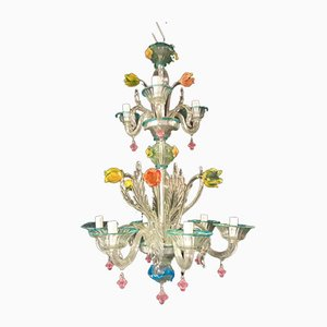 Chandelier in Clear & Colored Blown Murano Glass & Glass Paste