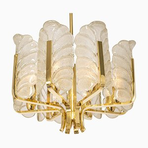 Chandelier with Murano Glass Leaves by Carl Fagerlund, 1960s