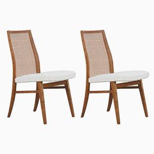 Buchenholz Stühle mit Geflochtenen Rückenlehnen, 1950er, 2er Set, 1950er