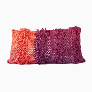Orange & Red Textures from the Loom Pillow by Com Raiz
