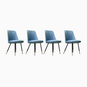 Italian Dining Chairs with Brass Feet, 1950s, Set of 4