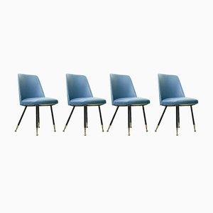 Italienische Esszimmerstühle mit Messingfüßen, 1950er, 4er Set