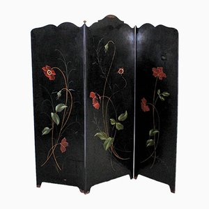 Art Deco 3-Panel Folding Screen or Room Divider in Black Metal with Brass Details, France, 1920s