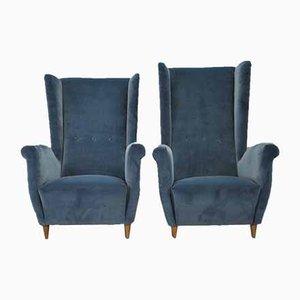 His & Hers Velvet Armchairs, 1950s, Set of 2