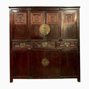 Asian Wardrobe in Lacquer and Gilt Brass