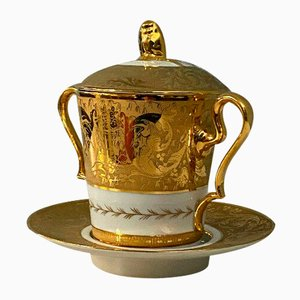Hand-Engraved and Hand-Gilded Empire Drageoir & Saucer Set from Le Tallec Paris