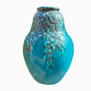 Vase Art Déco en Céramique Attribué à CAB pour Primavera, Bordeaux
