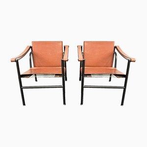 Fauteuils LC1 par Le Corbusier, Pierre Jeanneret et Charlotte Perriand pour Cassina, Italie, 1970s