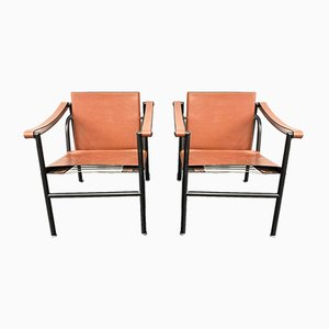 LC1 Armchairs by Le Corbusier, Pierre Jeanneret and Charlotte Perriand for Cassina, Italy, 1970s