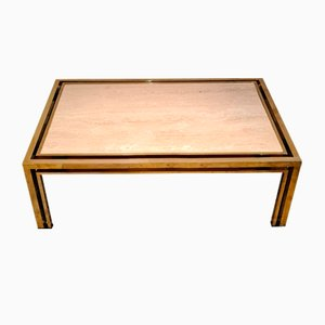 Brass and Travertine Coffee Table